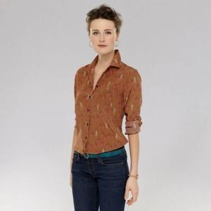 Fossil Brown Silk Feather Print Collared Button Up Top - Small